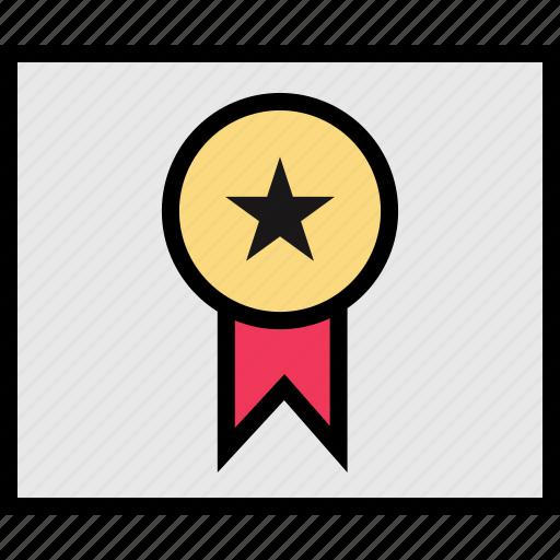 award, diploma, education, online, ribbon, teaching icon