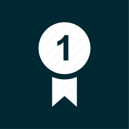 award, circle, number, one, ribbon icon