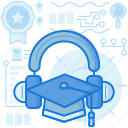 audio, audiobook, graduation, knowledge, media, multimedia, sound icon