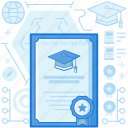 badge, certificate, diploma, document, graduate, graduation, medal