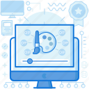 art, computer, course, customize, lesson, monitor, screen icon
