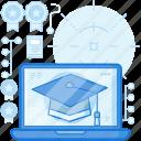 computer, course, education, graduate, graduation, laptop, online icon