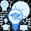 graduate, graduation, idea, knowledge, light, lightbulb, thought icon