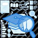 find, graduate, graduation, knowledge, magnifier, scan, search
