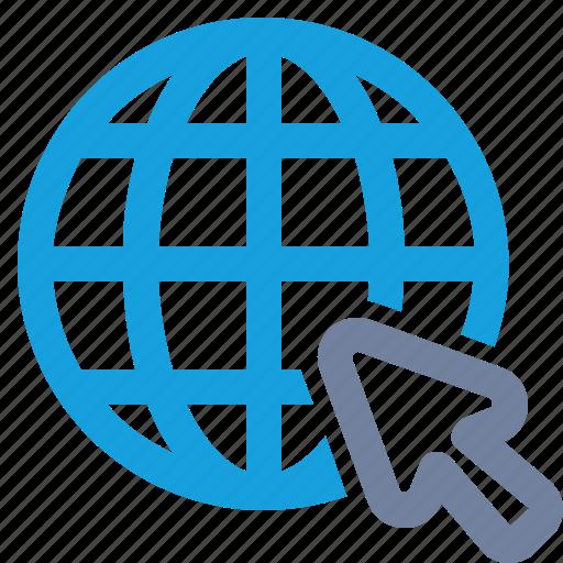 Click, ctr, cursor, globe, grid, pointer, website icon