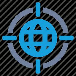 aim, cross-hairs, globe, grid, marketing, target, world icon