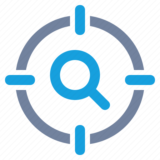 cross-hairs, glass, magnifier, magnifying, search, seo, target icon
