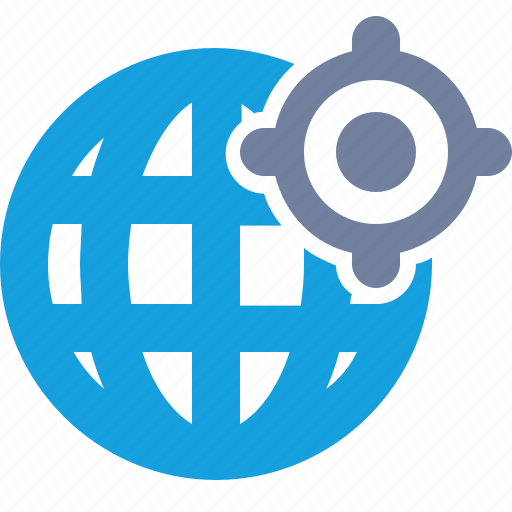 cross-hairs, globe, grid, target icon