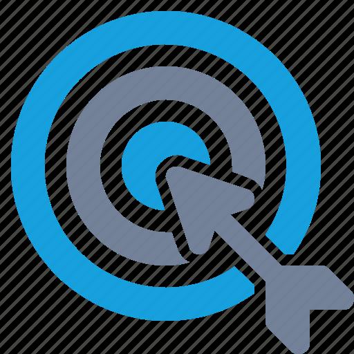aim, arrow, bulls-eye, marketing, solution, success, target icon