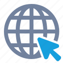 cursor, globe, grid icon
