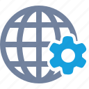 cog, economy, gears, globe, grid, options, system icon