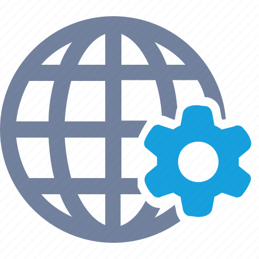 cog, economy, gears, globe, grid, options, system icon