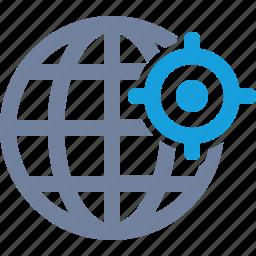 cross-hairs, globe, gps, grid, location, position, target icon