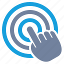 advertising, bulls-eye, click, ctr, hand, tap, touch icon