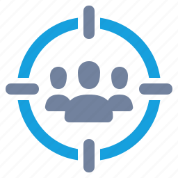 advertising, audience, cross-hairs, group, marketing, people, target icon