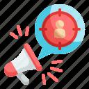 audience, marketing, megaphone, advertisement, seo
