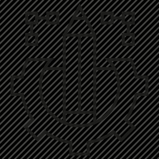 cog, design, gear, pencil icon