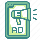 smartphone, ad, advertising, megaphone, marketing