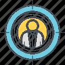 audience, man, target icon