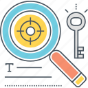 keywords, search, target icon