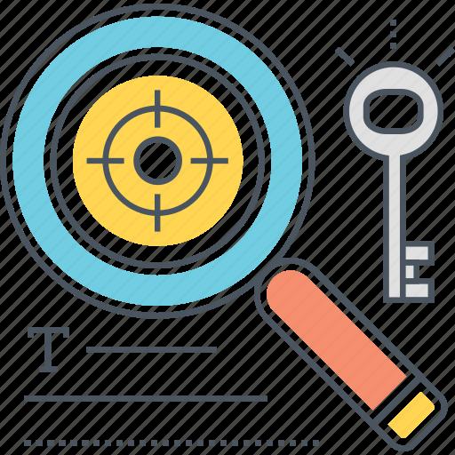 keywords, search, target icon