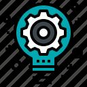development, gear, idea, lightbulb, operation icon