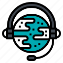 communication, global, headphone, microphone, service icon