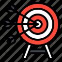 arrow, dartboard, goal, sport, target icon