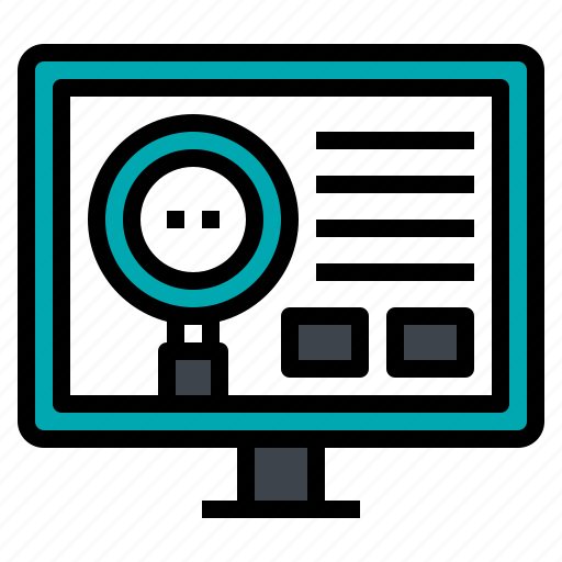 analytic, computer, magnifier, research, search icon