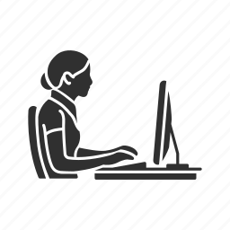 chat, conversation, desktop, message, online, online chat, woman chatting icon