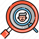 search, customer, magnifier, kyc icon