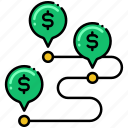dollar, pin, tracker, transaction icon