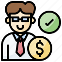 agent, business, businessman, finance, verification icon