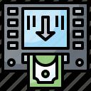 atm, cash, machine, money, notes, point icon