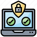check, computer, lock, locker, multimedia, safe, shield icon