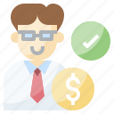 agent, business, businessman, finance, verification icon