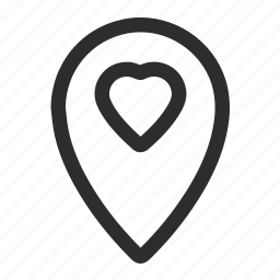 heart, location, pin icon