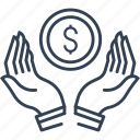 dollar, hands, money, online, payment icon
