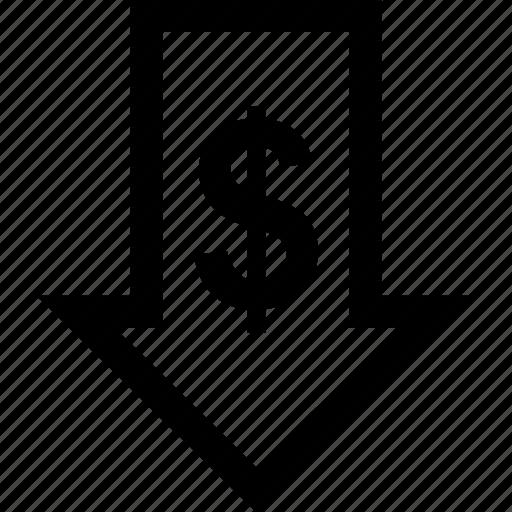 arrow, down, money, sign icon