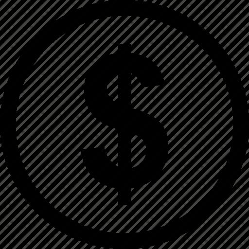 coin, dollar, money, sign icon