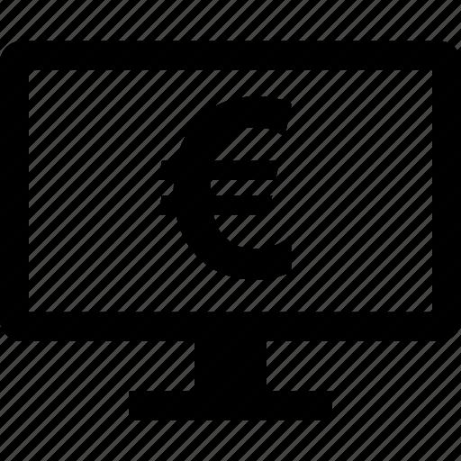 euro, monitor, screen, sign icon