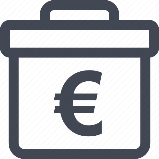 briefcase, case, currency, euro, pro, professional, sign icon