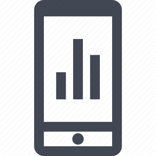 bars, business, cell, chart, graph, mobile, phone icon