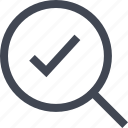 approved, check, good, look, magnifier, mark, ok icon
