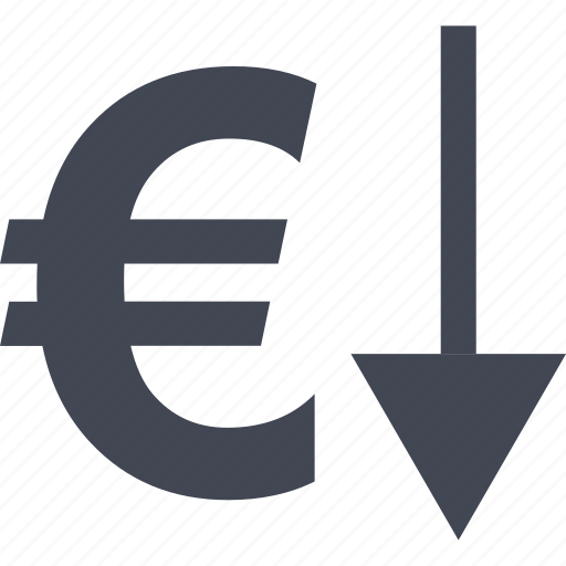 currency, down, euro, investment, low, money icon
