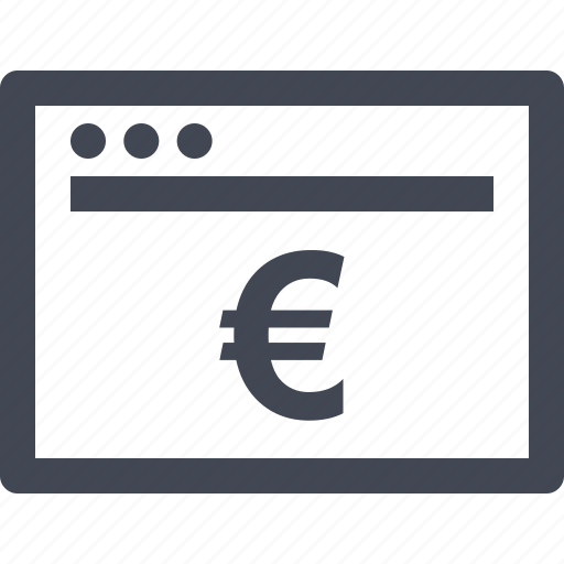browser, buy, euro, money, online, shop, sign icon
