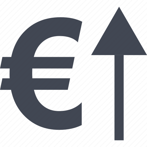 arrow, euro, going, investment, money, sign, up icon
