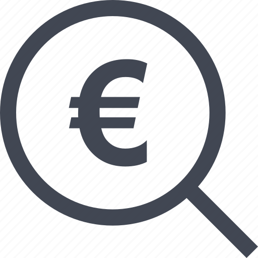 euro, find, look, magnifiery, money, search, sign icon