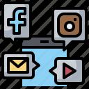 facebook, instagram, phone, share, social, ui