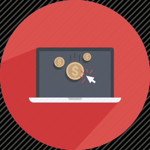 click, coin, content, laptop, money, shopping, web icon